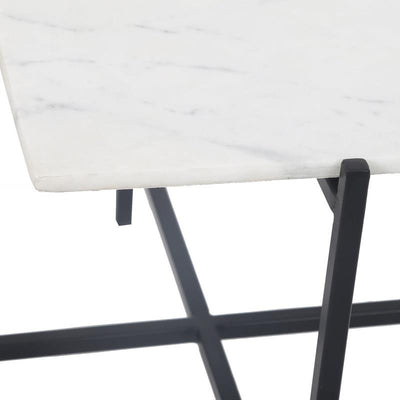 Function Rectangular White Marble Black Base Coffee Table