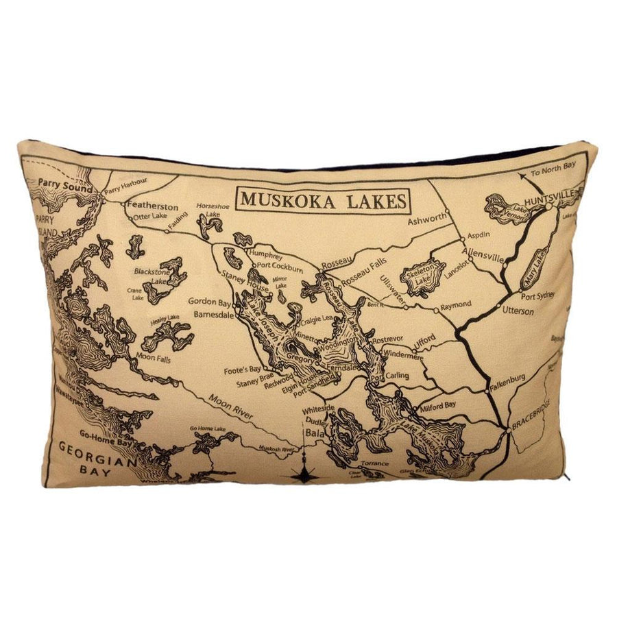 Musoska Lakes Map Pillow