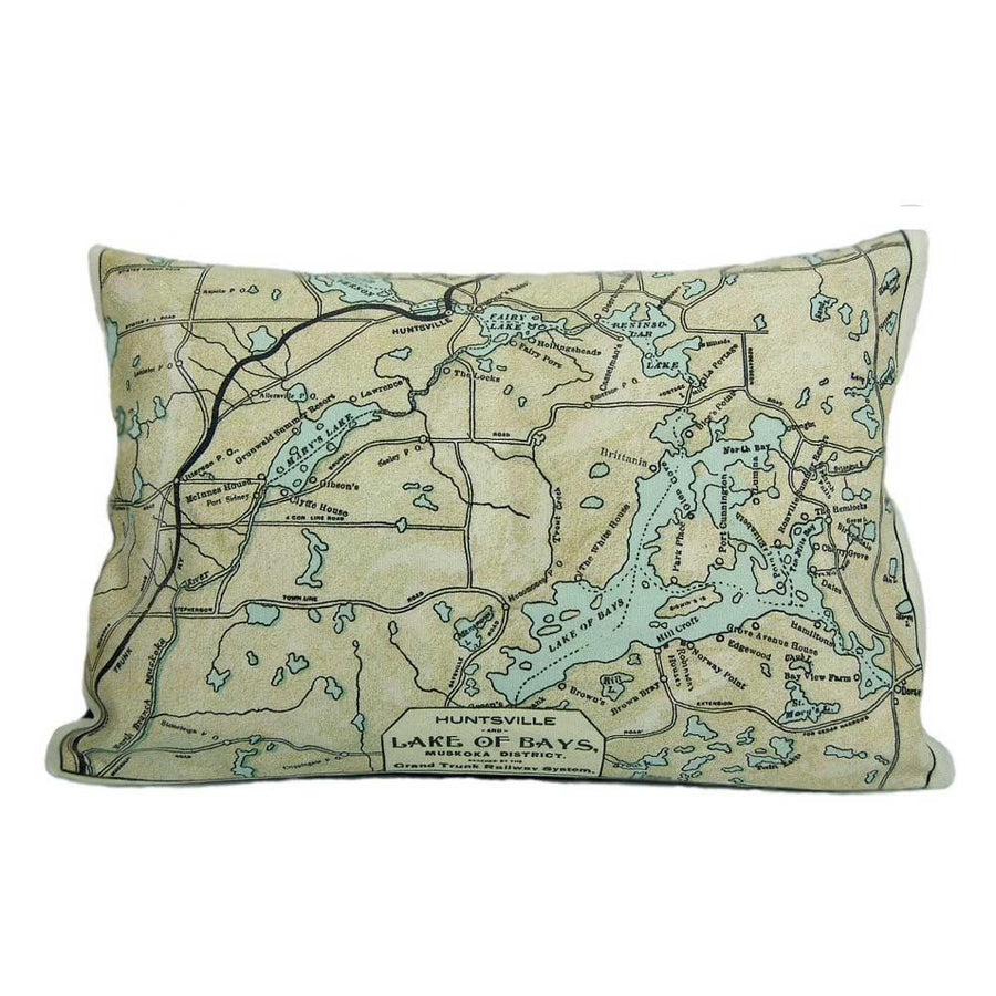Lake of Bays Map Pillow