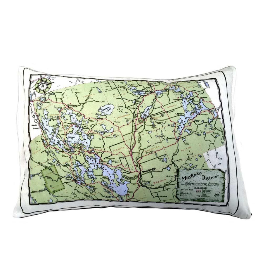 Muskoka Lakes District Map Pillow