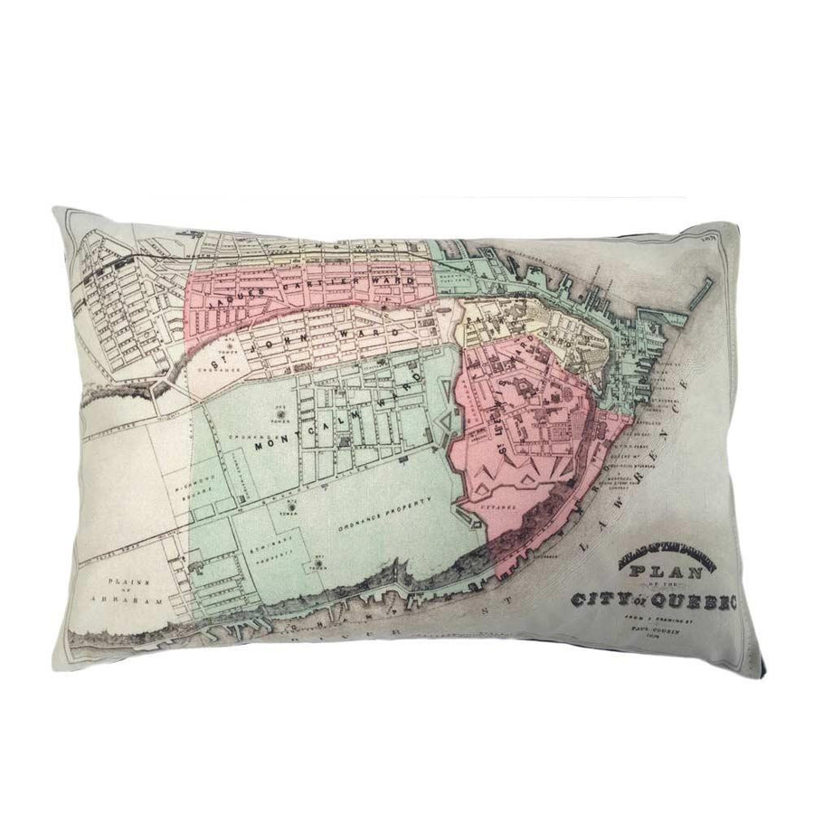 Quebec City Map Pillow