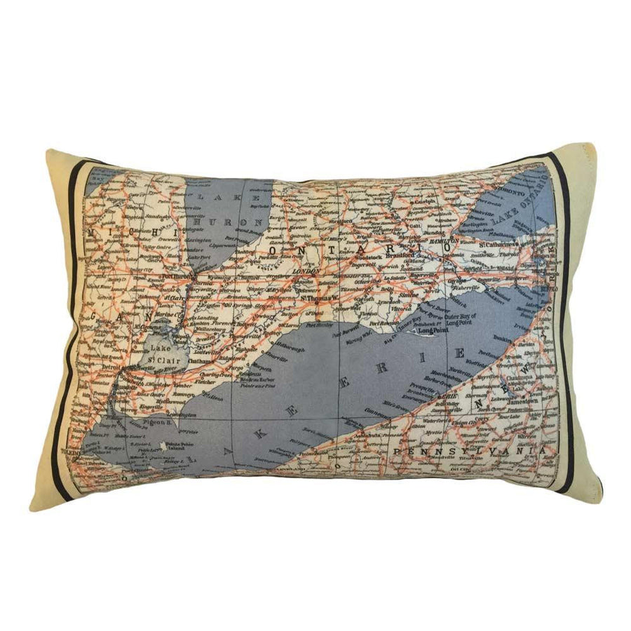 Lake Erie Map Pillow
