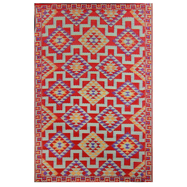 Outdoor Mat - Red Kilim - 4x6