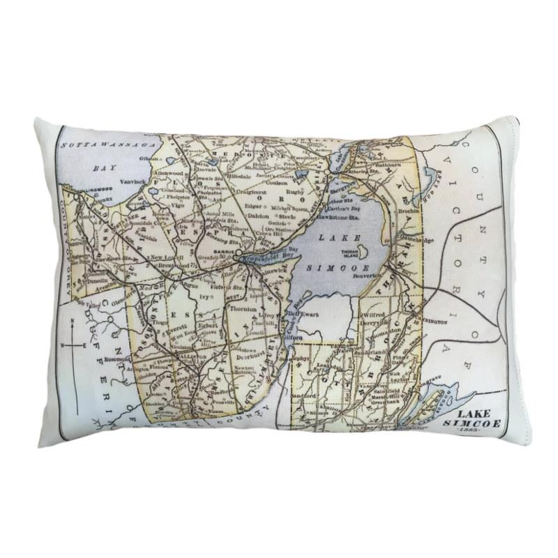 Lake Simcoe Map Pillow