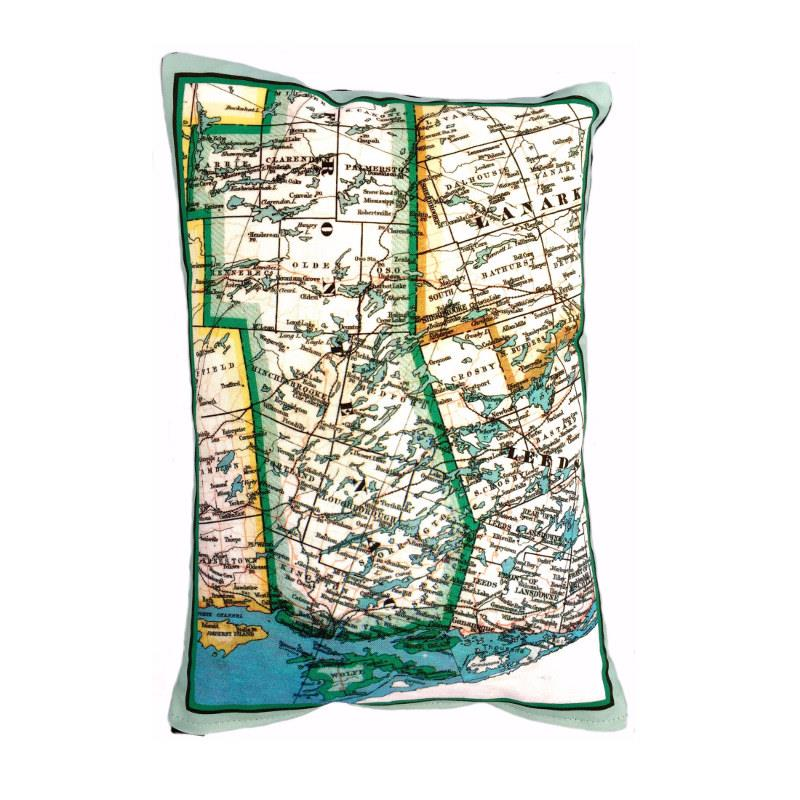 Rideau Lakes Map Pillow