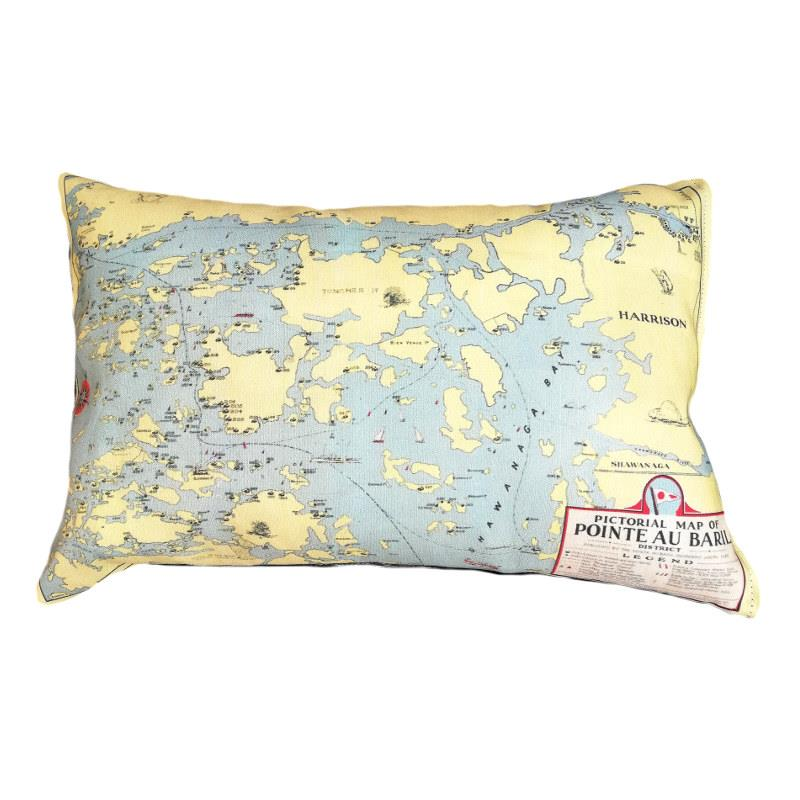 Pointe Au Baril Map Pillow