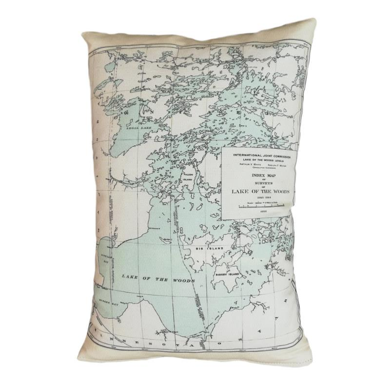Lake of Woods Map Pillow