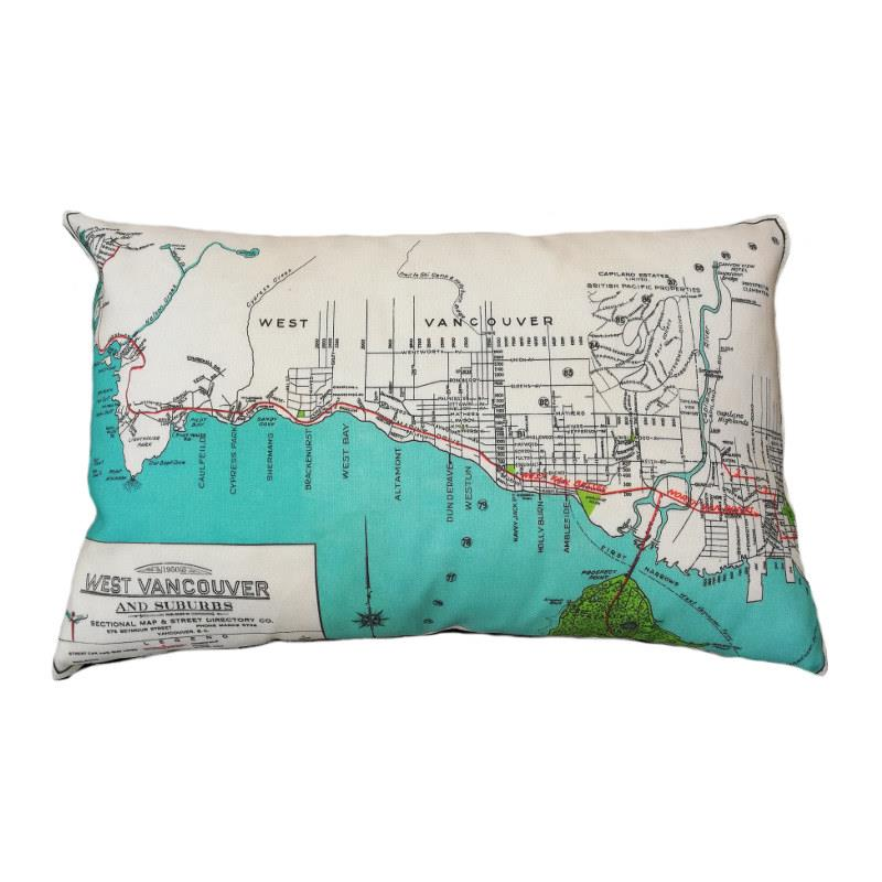 West Vancouver Map Pillow