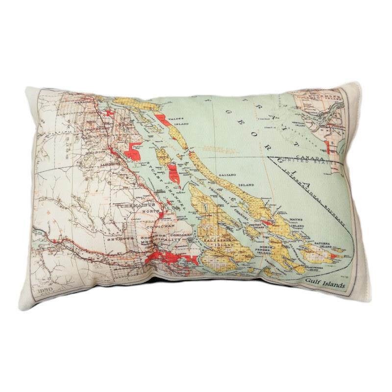 Gulf Islands - Salt Spring Island Vintage Map Pillow
