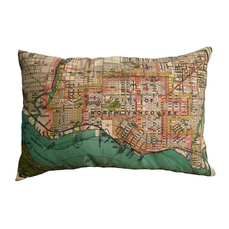 North Vancouver Vintage Map Pillow