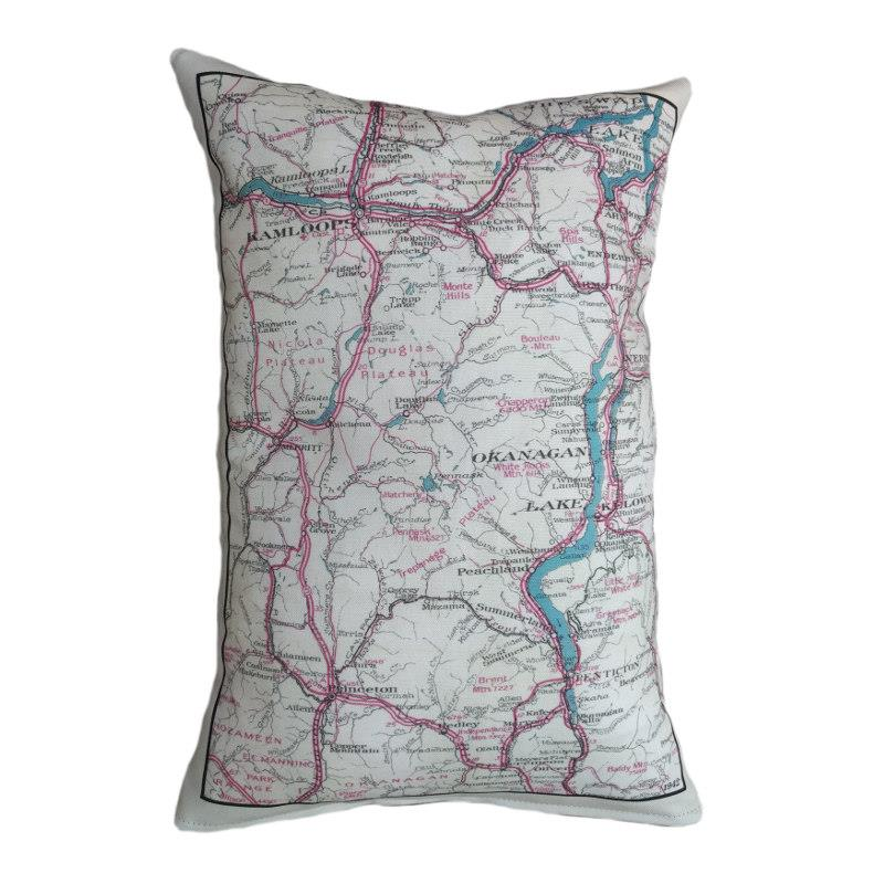 Okanagan Vintage Map Pillow
