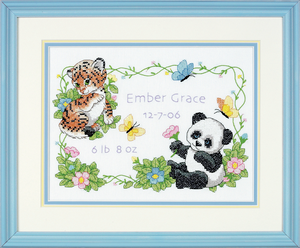 Baby Animals Birth Record - Dimenson Stamped Cross Stitch Kit D73065