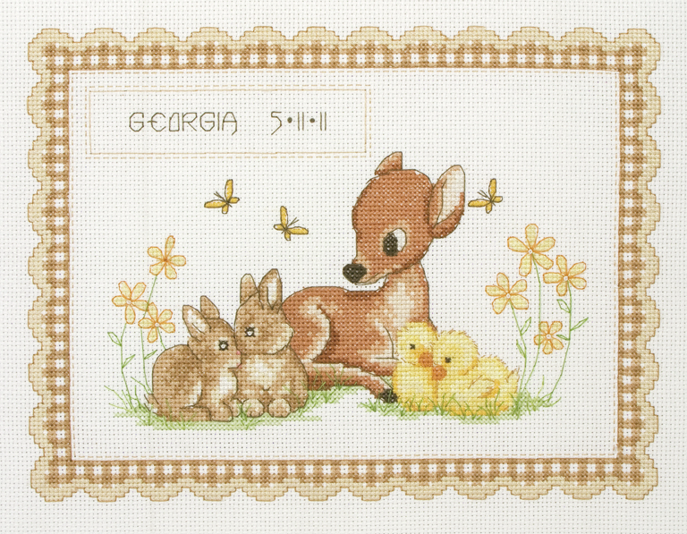Baby Animals  Birth Record - Anchor Counted Cross Stitch Kit ACS23
