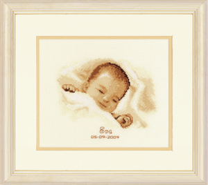 Sleeping Baby Birth Record -  Vervaco Counted Cross Stitch Kit PN-0011665