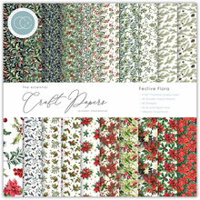 Load image into Gallery viewer, Craft Consortium The Essential Craft Papers 6x6 Inch Pad - Festive Flora CCEPAD011B
