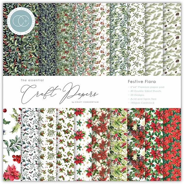 Craft Consortium The Essential Craft Papers 6x6 Inch Pad - Festive Flora CCEPAD011B