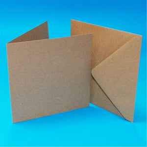 "50 6""x6"" Card Blanks & Envelopes - Kraft"
