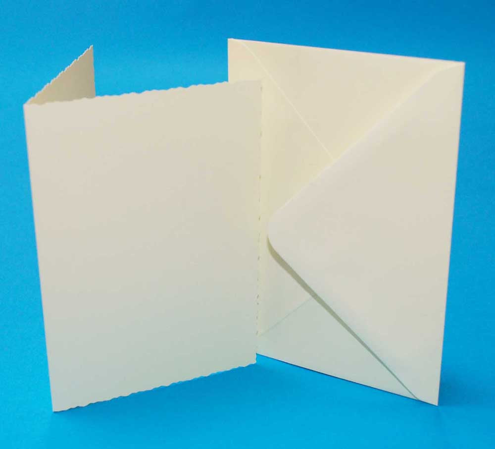 50 C6 Card Blanks & Envelopes - Ivory Deckle Edged
