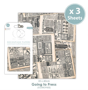 Craft Consortium Going to Press - Decoupage Papers Set (3 Sheets)