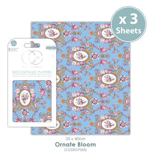 Craft Consortium Ornate Bloom - Decoupage Papers Set (3 Sheets)