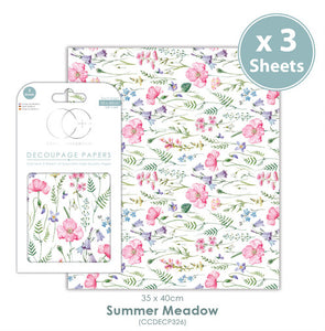 Craft Consortium Summer Meadow - Decoupage Papers Set (3 Sheets)