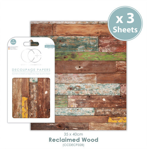 Craft Consortium Reclaimed Wood - Decoupage Papers Set (3 Sheets)