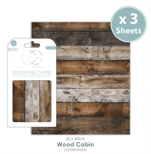 Craft Consortium Wood Cabin - Decoupage Papers Set (3 Sheets)