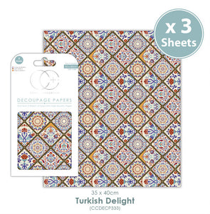 Craft Consortium Turkish Delight - Decoupage Papers Set (3 Sheets)