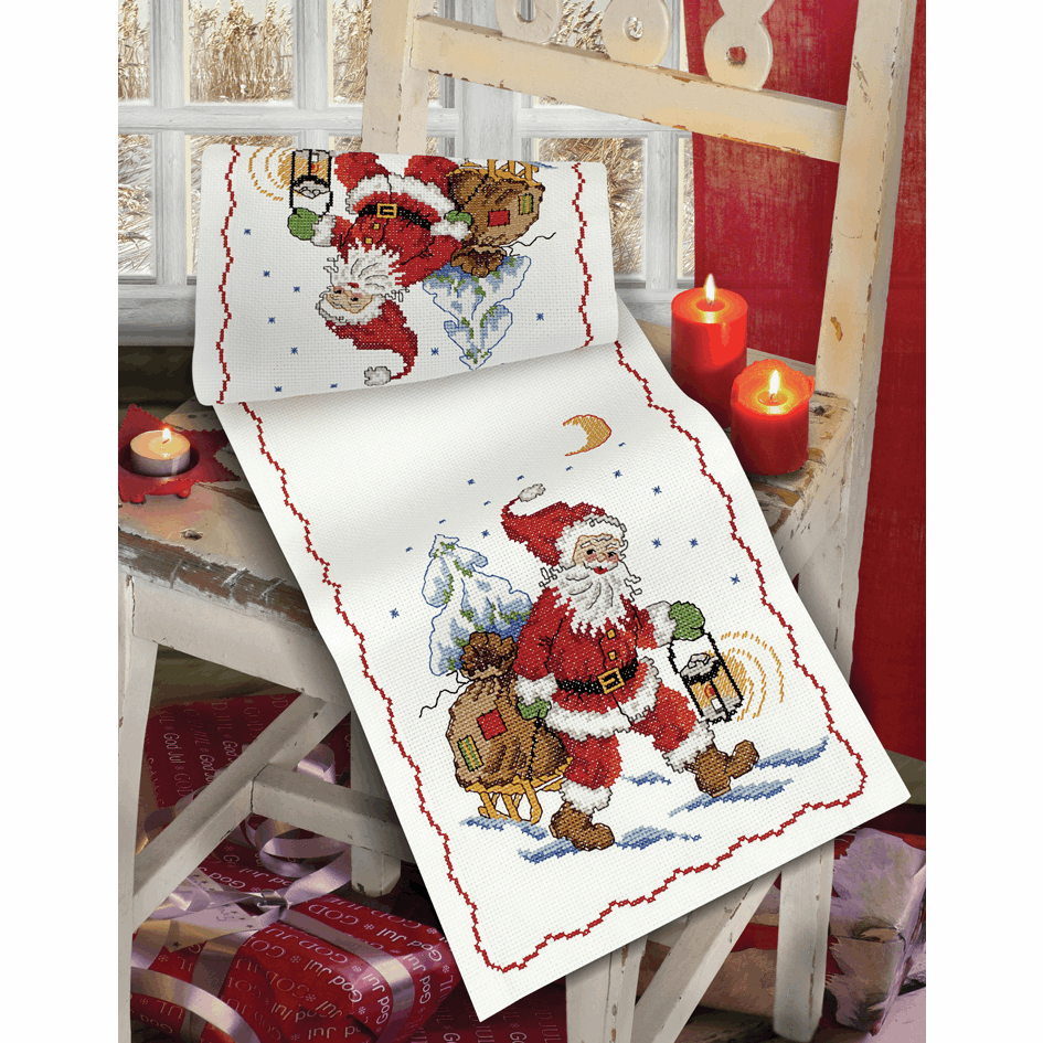 Santa & Sledge Runner - Anchor Cross Stitch Kit 9240000\2502