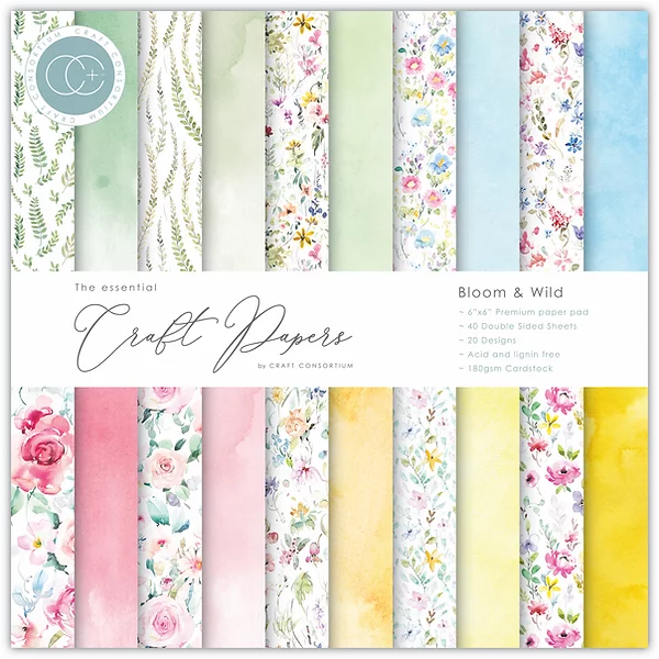 Craft Consortium The Essential Craft Papers 6x6 Inch Pad - Bloom & Wild CCEPAD009B