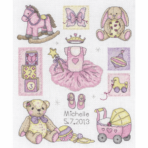 Girl's  Birth Record -  Anchor Counted Cross Stitch Kit ACS38