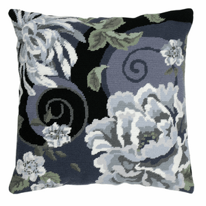 Floral Swirl in Black Cushion -  Anchor Tapestry Kit: ALR02