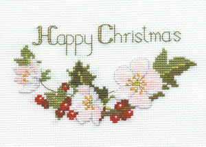 Christmas Roses - Christmas Card - Derwentwater Designs Cross Stitch Kit DWCDX01