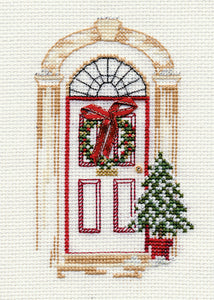 Christmas Door - Christmas Card - Derwentwater Designs Cross Stitch Kit DWCDX07
