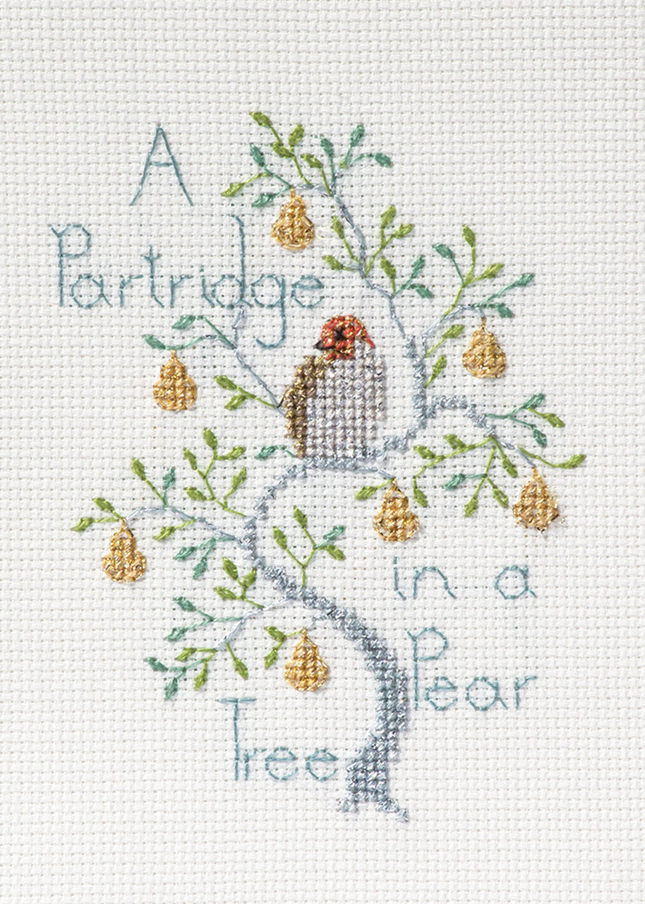 A Partridge in a Pear Tree - Christmas Card - Derwentwater Designs Cross Stitch Kit DWCDX52