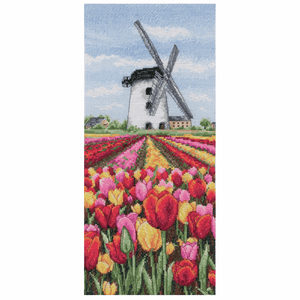 Dutch Tulips Landscape - Anchor Cross Stitch Kit PCE0806