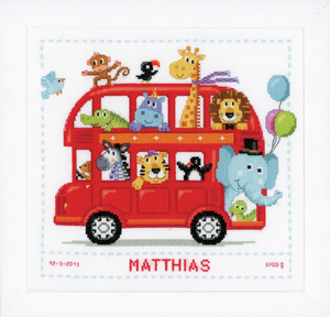 Funny Bus Birth Sampler -  Vervaco Counted Cross Stitch Kit PN-0147691