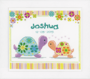 Colourful Turtles Birth Sampler -  Vervaco Counted Cross Stitch Kit PN-0147415