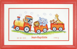 Animal Safari Train Birth Record -  Vervaco Counted Cross Stitch Kit PN-0145025