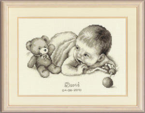 Baby With Teddy  Birth Record -  Vervaco Counted Cross Stitch Kit PN-0012148