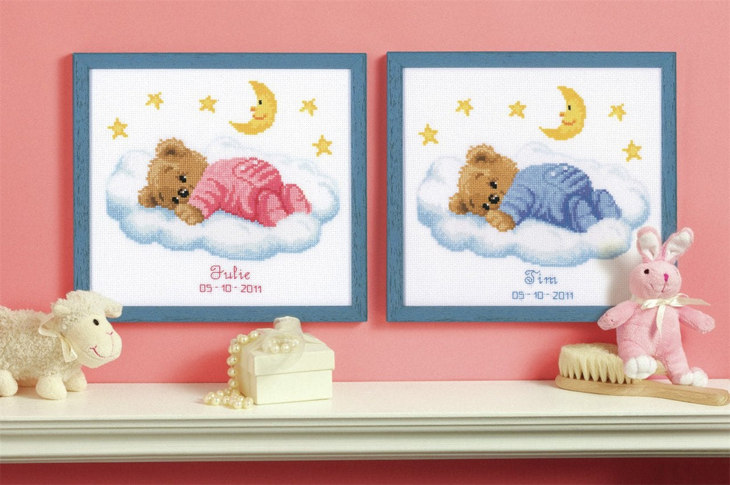 Teddy on Clouds Birth Record -  Vervaco Counted Cross Stitch Kit PN-0011815