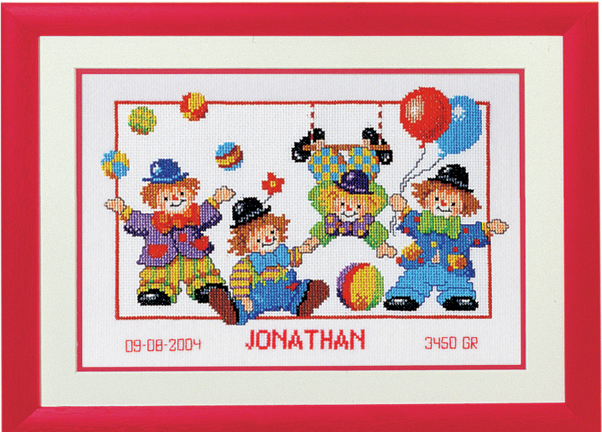 Clowns Birth Record -  Vervaco Counted Cross Stitch Kit PN-0011982