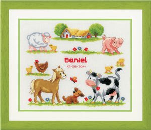 Farm Animals  Birth Record -  Vervaco Counted Cross Stitch Kit PN-0011894