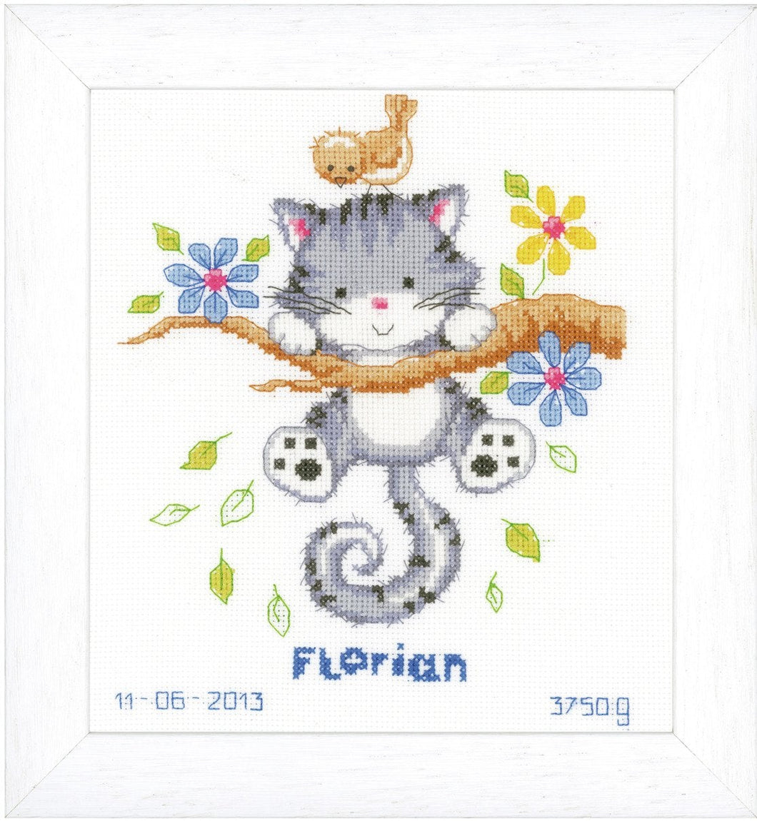 Kitten Birth Record -  Vervaco Counted Cross Stitch Kit PN-0146276