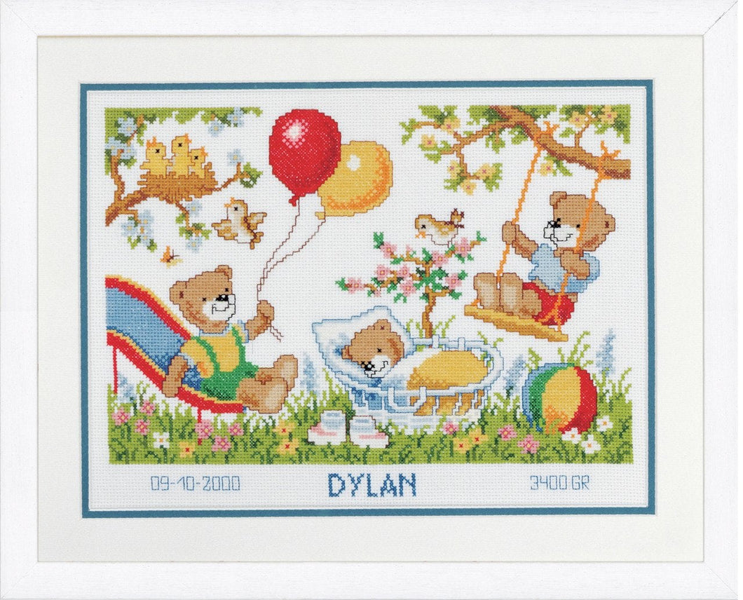 Teddies in Garden Birth Record -  Vervaco Counted Cross Stitch Kit PN-0011997