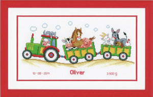 Tractor Birth Record -  Vervaco Counted Cross Stitch Kit PN-0011906