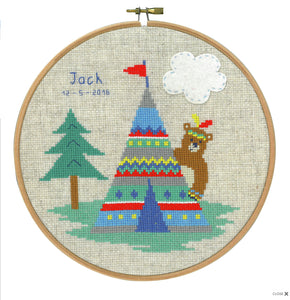 Lief! Indian Bear & Tepee Birth Record -  Vervaco Counted Cross Stitch Kit PN-0145193