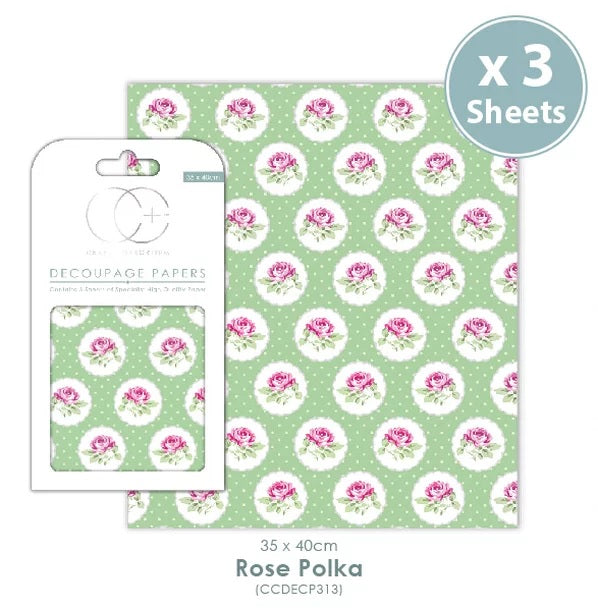 Craft Consortium Rose Polka- Decoupage Papers Set (3 Sheets)