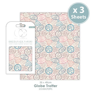 Craft Consortium Globe Trotter - Decoupage Papers Set (3 Sheets)