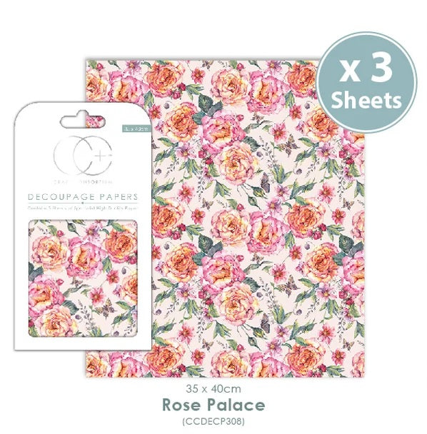 Craft Consortium Rose Palace - Decoupage Papers Set (3 Sheets)